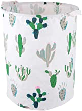 YARNOW Cactus Collapsible Round Linen Vintage Woven Storage Basket Bin Toy Bucket Organizer Holder with Handles for Home C...