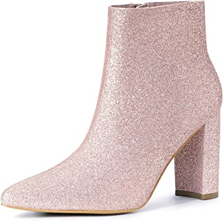Women's Glitter Pointed Toe Chunky Heel Ankle Boots