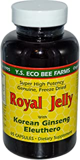 Royal Jelly 200 mg + Ginseng (Siberian 200mg, Korean 100mg) Y.S. Organic Bee Far, 65 Capsules