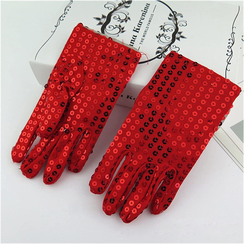 CHHNGPON Bridal Gloves Sequins Wedding Flower Girl Gloves Princess Dress Gloves Kids Mittens Children Performance Birthday Christmas Party Gloves (Color : Red)