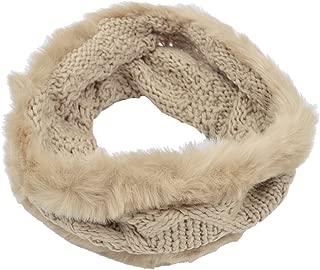 Premium Solid Color Winter Diamond Knit Faux Fur Trim Infinity Loop Circle Scarf