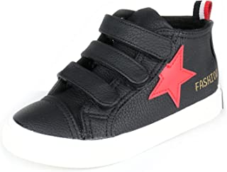 Alexis Leroy Kid's Star Triple Hook and Loop High Top Trainer Shoes