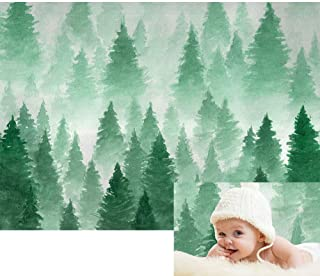 Allenjoy Green Oil Painting Forest Backdrop Nature Watercolour Tree Christmas Party Photography Backdrop Kids Newborn Baby Portrait Photoshoot Background 7x5ft Photo Booth Studio Props