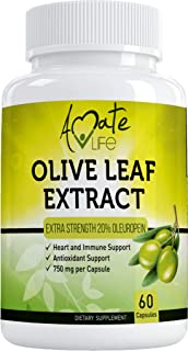 Olive Leaf Extract Capsules 750mg - Immune Support and Antioxidant Supplement for Cardiovascular, Blood Pressure & Heart H...