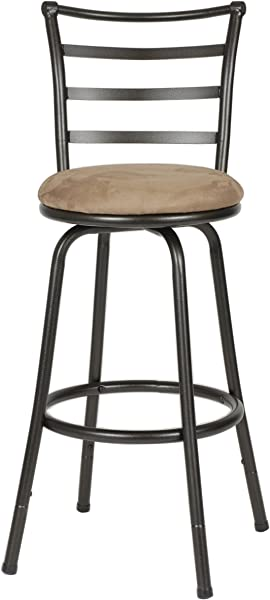 Roundhill Furniture Adjustable Bar Stools Metallic Set Of 2