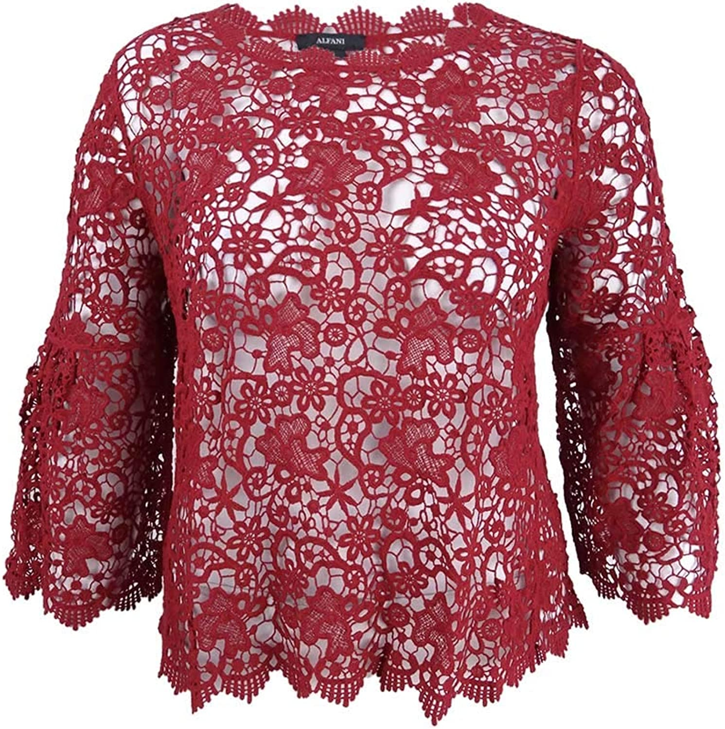 Alfani Womens Crocheted Knit Blouse
