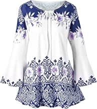 Ray-JrMALL Womens Floral Print Tunic Tops 3/4 Long Sleeves Casual Loose Floral Blouse Button Up Print Shirts