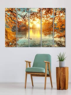 999Store wall art frames small frames for wall decor Yellow leaves tree and lake wall art panels hanging painting Set of 5...