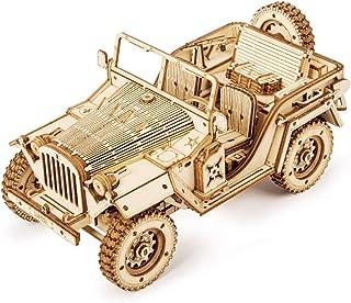 پازل چوبی 3D ROKR برای بزرگسالان-کیت های مدل ماشین مکانیکی-پازل های فکری-مغزی-کیت های ساخت وسایل نقلیه-هدیه بی نظیر برای کودکان در روز تولد / روز کریسمس (مقیاس 1:18) (MC701-Army Field Car)