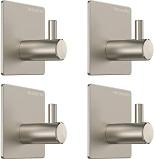 Wall Hooks Adhesive for Hanging Towels - Set of 4 - Premium Adhesive Hooks Heavy Duty - Towel Hooks for Bathrooms - Robe Hook Brushed Nickel - Sticky Hanging Wall Hangers Without Nails