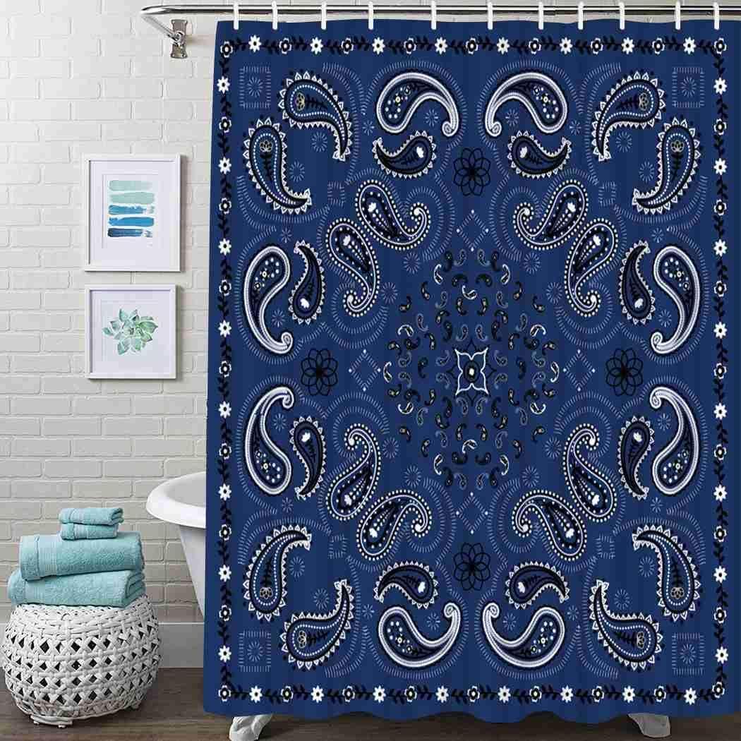 Nashville-Davidson Mall Popular standard Guftay Paisley Shower Curtain Bandana Blue Wate