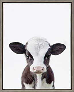 DesignOvation Sylvie Baby Cow Portrait Framed Canvas Wall Art by Amy Peterson, 18x24 Gray, Cute Baby Animal Home Decor for Living Room, Bedroom, Or Nursery