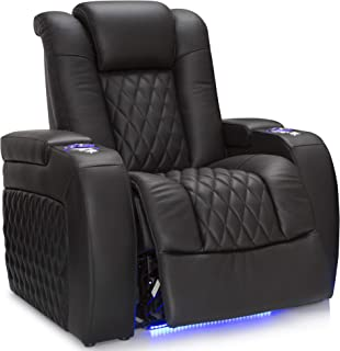 Seatcraft Diamante - Home Theater Seating - Power Recliner - Leather - Adjustable Powered Headrests - Cup Holders - USB Charging - SoundShaker - Ambient Lighting - Wall Hugger - Black
