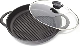 "Jean Patrique The Whatever Pan - Cast Aluminium Griddle Pan with Glass Lid | 10.6"" Diameter, Induction Compatible, Non-Stick"