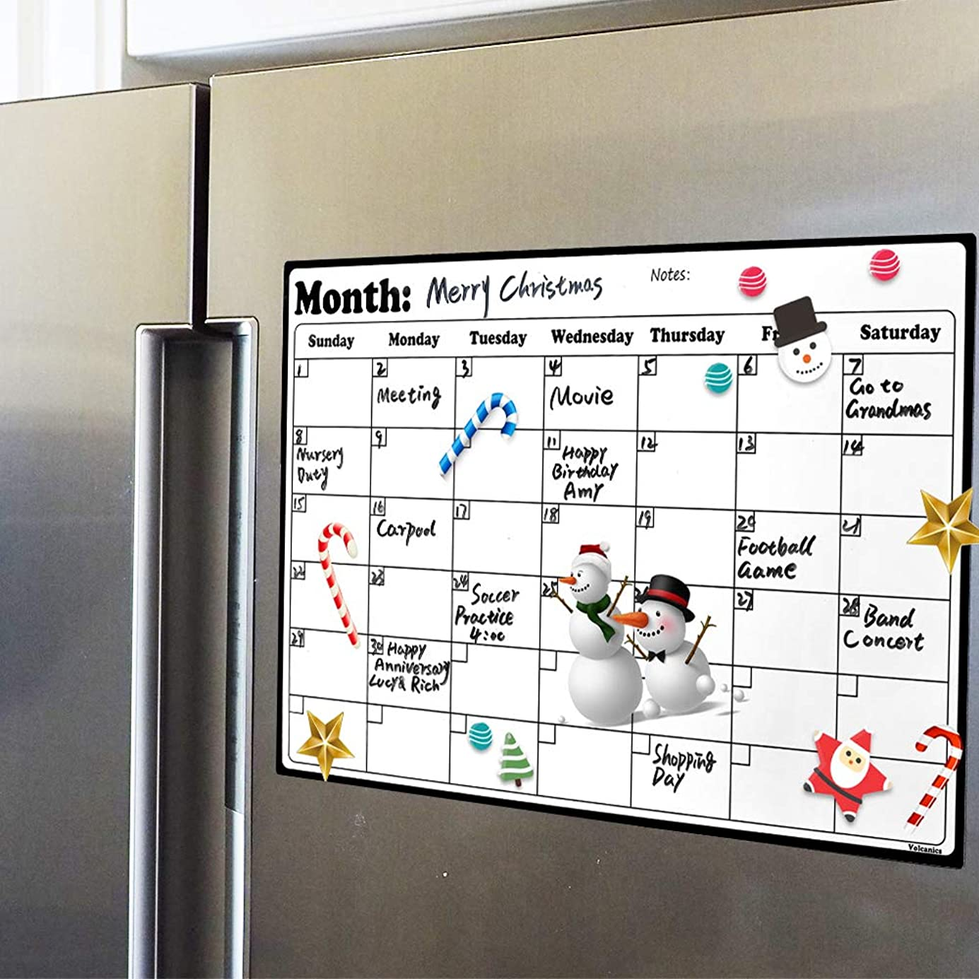 Fridge?Calendar?Magnetic Dry Erase Calendar Whiteboard 2019-20 Calendar for Kitchen Refrigerator Smart Planners 16.9