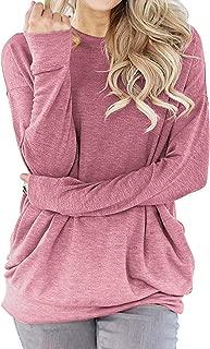 lymanchi Women Round Neck Sweatshirt Shirt Pocket Long Sleeve Loose Baggy Pullover Tunic Top