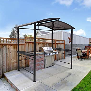 COOL Spot 8'x5' BBQ Grill Gazebo Outdoor Backyard Steel Frame Double-Tier Polycarbonate Top Canopy with Shelves Servi