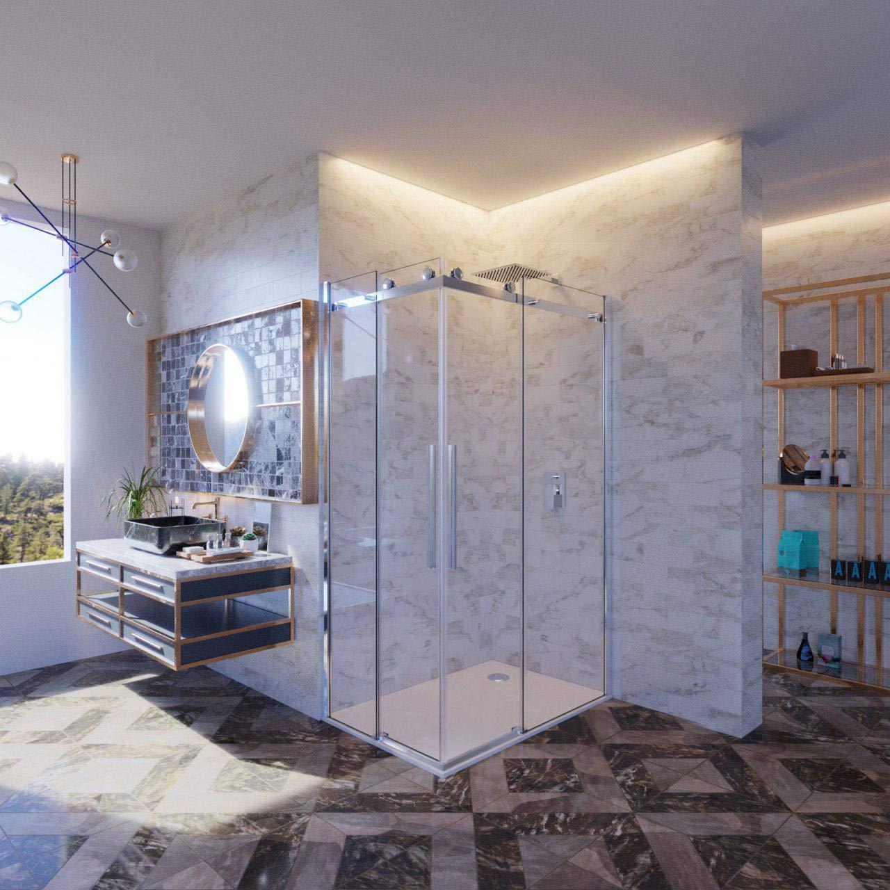 mampara de ducha 75 X 120 120 X 75 de cristal templado de 8 mm h.195, Anti Piedra caliza, Reversible, ASA de acero inoxidable: Amazon.es: Bricolaje y herramientas
