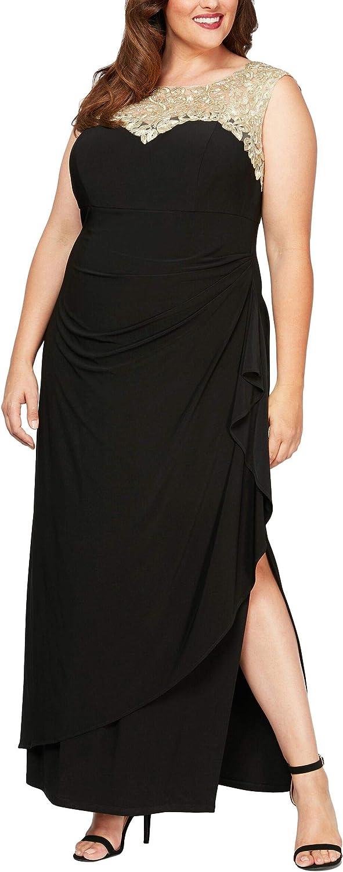 Alex Evenings Women's Plus-Size Long Cap Sleeve Side Ruched Dress