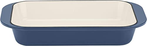 """lowest Cuisinart Cast Iron high quality Roasting/Lasagna Pan, 14"""", Enameled Provencial new arrival Blue online sale"""