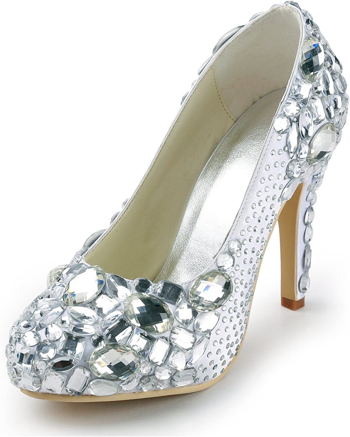 Zioso TMZ344 Women's Rhinestones Satin Bridal Wedding Evening Formal Party Pumps shoes