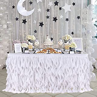 14ft Curly Willow White Table Skirting Lace Taffeta Table Skirt Tutu Tulle Table Skirt for Round or Rectangle Table for Birthday, Wedding, Party Decoration Supplies