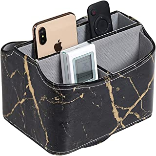 UnionBasic PU Leather 360 Degrees Rotatable Remote Control/Controller Organizer, Spinning TV Guide/Mail/Media Desktop Organizer Caddy Holder, PU Leather in Marble Black with Golden Pattern