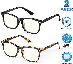 ?2Pack?SIPU Blue Light Blocking Glasses for Men Women, Computer Reading Anti Eyestrain& UV400 Glare Glasses for Unisex