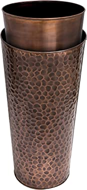 H Potter Large Tall Planter Pots Outdoor Indoor Copper Flower Decorative Weather Resistant Garden Deck Patio GAR568