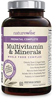 NatureWise Prenatal Whole Food Multivitamin for Women | Folate, Vegetarian DHA, Non-Constipating Iron, Plant-Based Calcium...
