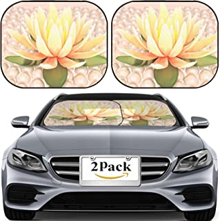 MSD Car Sun Shade for Windshield Universal Fit 2 Pack Sunshade, Block Sun Glare, UV and Heat, Protect Car Interior, Lotus and Pearls Image ID 38781919