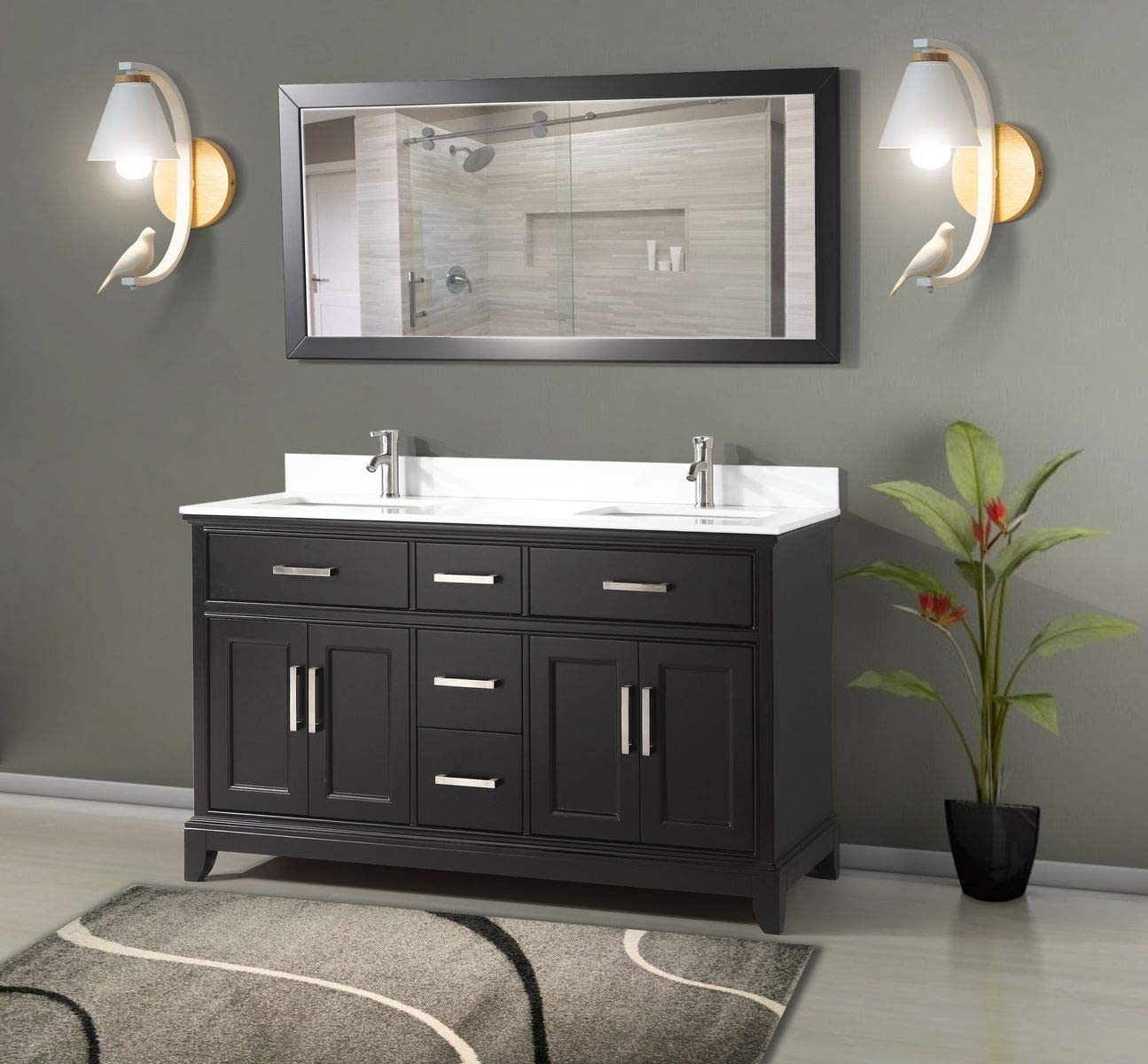 Buy Vanity Art 60 Inches Double Sink Bathroom Vanity Set White Super Phoenix Stone Top 5 Dove Tailed Drawers 2 Shelves Undermount Rectangle Sink Cabinet With Free Mirrors Va1060 De Online In Indonesia B01ipyxmg6