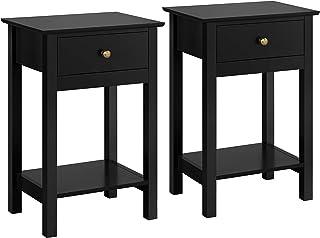 Yaheetech 2 Tables de Chevet en Bois Noir Bout de Canapé Table d'Appoint avec 1 Tiroir et 1 Étagère de Rangement Taille 40...