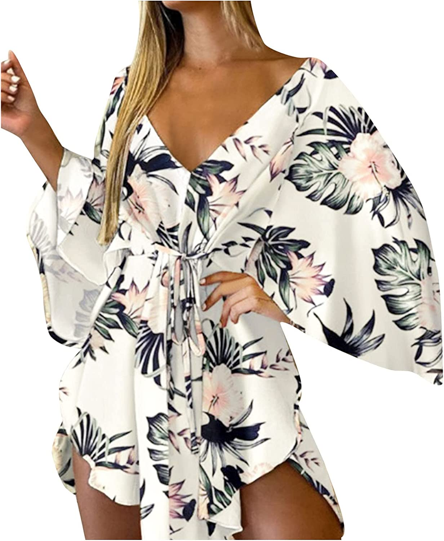 Dresses for Women 2021, Casual V Neck Long Sleeve Dresses Splicing Midi Dress with Belt Womens Sexy Shirt Dress