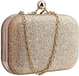 Yuwegr Damen Crossbody Tasche Mode Wild Pailletten Messenger Bag Umhängetaschen Dinner Mini Chain Schultertaschen(Gold)
