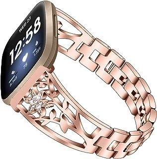 Bling Bands Compatible with Fitbit Versa 3/Fitbit Sense, Moekk Stylish Dressy Stainless Steel Metal Bracelet Diamond Repla...