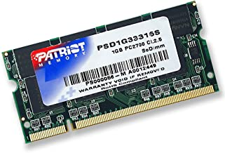Patriot Signature 1 GB SODIMM PC-2700 DDR-333 Memory Module -PSD1G33316S