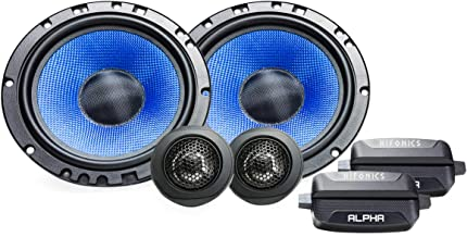 Hifonics Alpha HA65C - 6.5 Inch Two Way Coaxial Car Speakers, 300 Watt Max, Black and Blue, Aluminum Dome Tweeter, Voice Coil