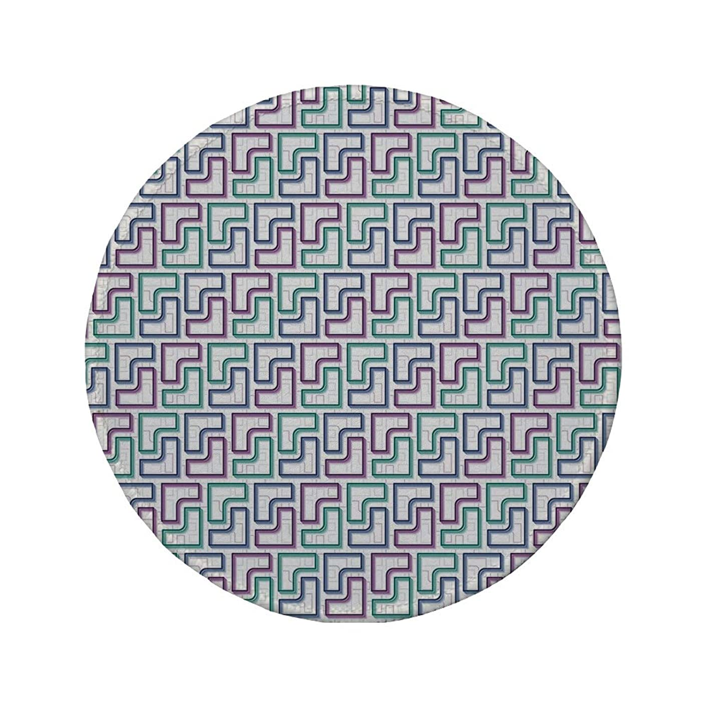 Non-Slip Rubber Round Mouse Pad,Geometric,Trippy Tiles Maze Branching Path Puzzle Style Digital Motif,White Purple Teal Dark Blue,11.8