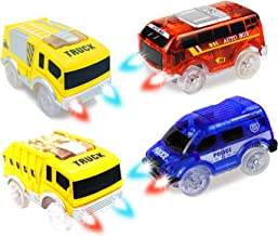 HAPISIMI Track Car 4 Pack, Red Bus, Blue Police and Yellow Truck Cars, with 5 LED Lights, Compatible with Magic Tracks, Neo Twister Tracks …