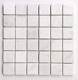Glacier White 2x2 Tumbled Aged Marble Tile Floor Wall Backsplash Kitchen