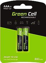 Green Cell 800mAh 1.2V Lot de 2 Piles Rechargeables Ni-MH Type AAA, Préchargée, Haute capacité, Micro Batterie, HR03, Faible Auto-décharge