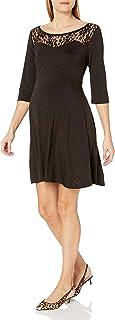 Everly Grey womens Pipa Maternity 3/4 Sleeve Lace Trimmed Skater Dress Pipa Maternity 3/4 Sleeve Lace Trimmed Skater Dress