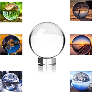 Photograph Crystal Ball with Stand and Pouch, K9 Crystal Suncatchers Ball with Microfiber Pouch, Decorative and Photography Accessory (3-1/5