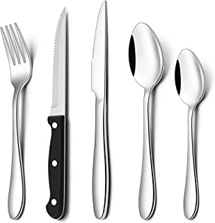 Herogo 30 Piece Cutlery Set with Steak Knives, Stainless Steel Flatware Set Service for 6, Tableware Silverware Set with F...