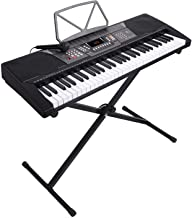 LAGRIMA 61 Key Portable Electric Piano Keyboard, Music Keyboard W/X Adjustable Stand, LED Screen, Music Stand, Power Supply, Microphone, Suit for Kids Adult Beginner, Black