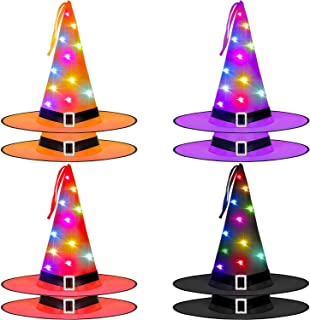8 Pieces Halloween Witch Hats Lights Outdoor Hanging Glowing Halloween Lights Decorations Battery Operated Witch Hats Lights for Outdoor, Garden, Yard, Tree