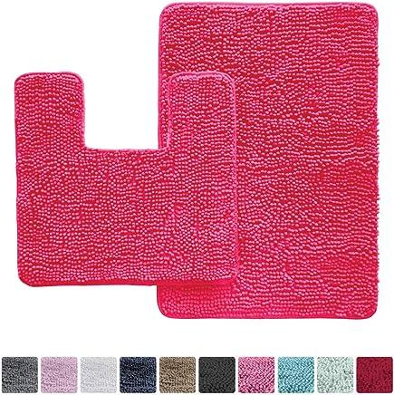 Alfombra de baño Kangaroo de felpa de lujo de felpa, alfombrilla de baño, absorbente extrasuave, lavable a máquina/seca, parte inferior fuerte, perfecto para alfombras, tina, ducha., Hot Pink, Curved Set