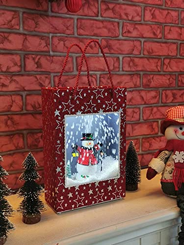 lowest SkyMall wholesale online Decorative Snowing LED Lighted 8 Song Star Snowman Holiday Display Gift Bag online