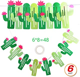 48 Pcs/10' (6 Pack) Cactus Banner llama Fiesta Bachelorette Garland Cactus Green Fiesta Banner Party String Banner For Hawaii Party Kids Birthday Jungle Theme Party Wedding Taco Cinco De Mayo Party Decor